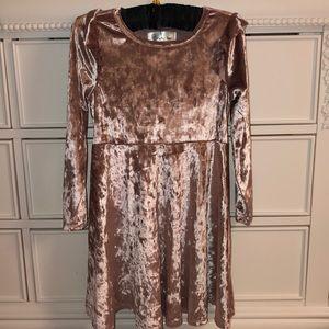 Girls Pink Velvet Dress- size 5